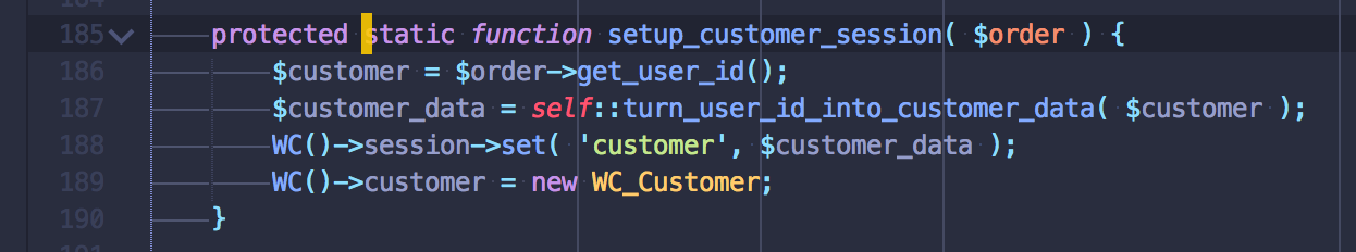 method to store customer data in session and instantiate a new WC_Customer instance