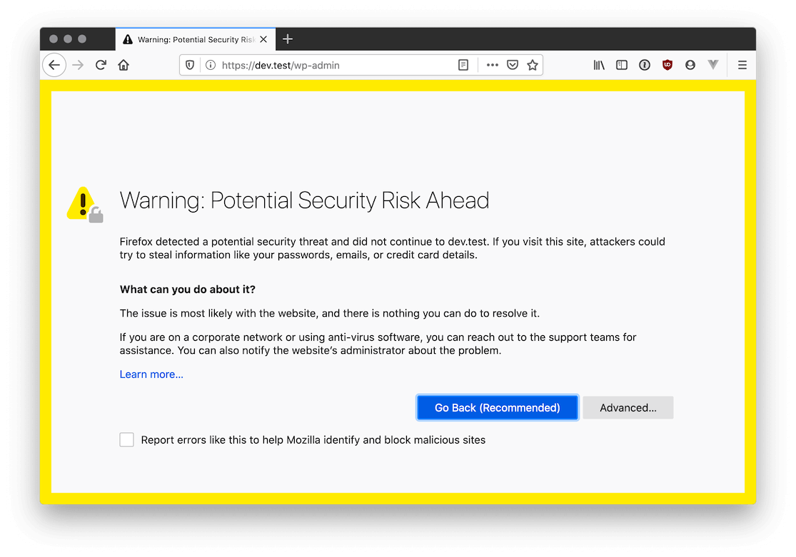 Screenshot of Firefox complaining about potential security risk ahead.