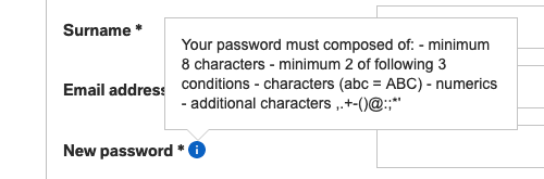 Screenshot of password rules: minimum 8 characters, minimum 2 of the following 3 conditions: characters, numerics, additional characters.