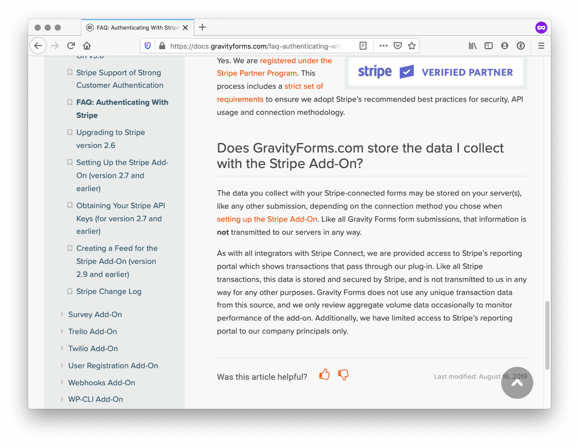 Screenshot of the FAQ on Gravity Forms Stripe's page.