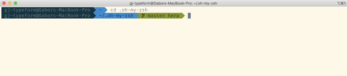 "Terminal window, prompt says ""master herp"" with our changes applied"